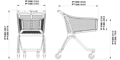 Polycart plastic trolley P130L -drawing