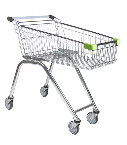 shopping trolley Scandinavia S100 with green protective corners - Exact i Butik