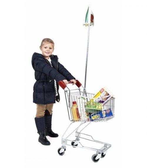 Barnkundvagn med rött handtag