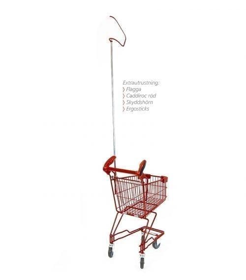 Caddie barnkundvagn med barn röd Caddiroc med Ergosticks