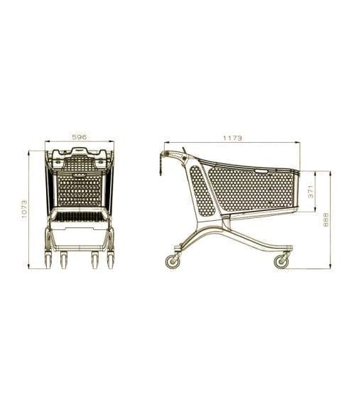 Polycart plastic trolley P240-drawing