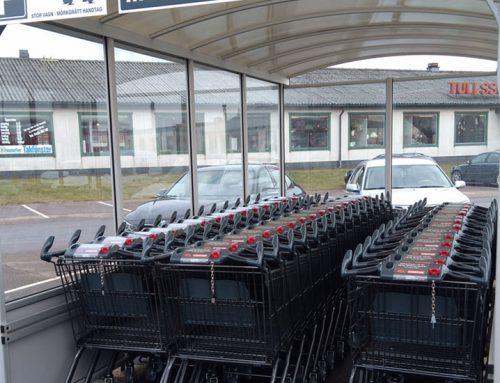 Kundvagnar med färgkodade lås – ICA Kvantum Klippan
