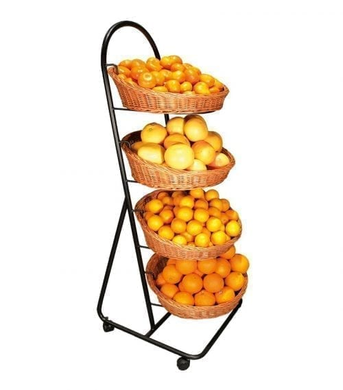 Organic baskets Hansen - Metal stand with 4 round brown baskets - Exact i Butik