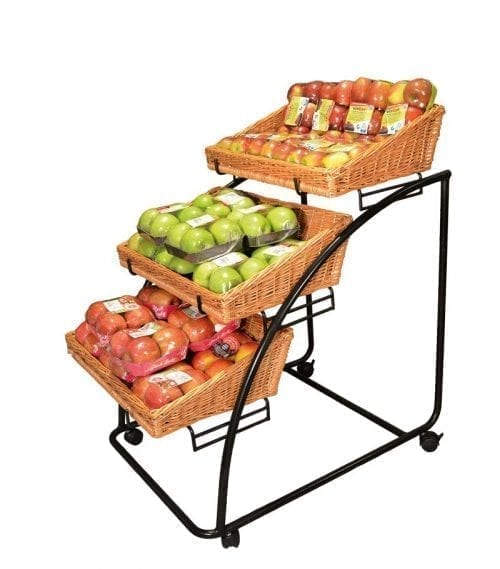 Organic baskets Hansen - metal stand with 3 rectangular brown baskets - Exact i Butik