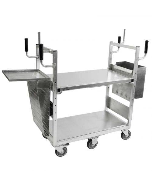 Plockvagn liten med extra tillbehören; papperkassbehållare med vågplatta, papperskorg.